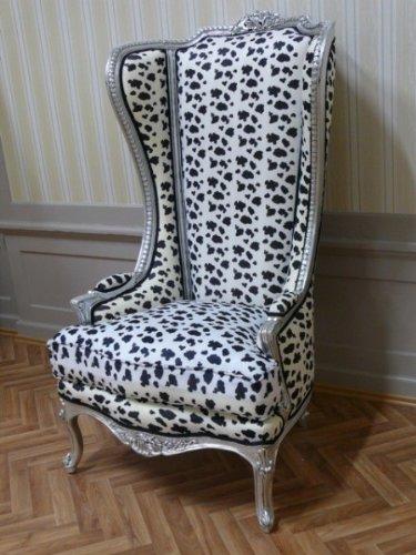 LouisXV Barock Sessel Armlehner Stuhl Thron Prunksessel Antik Stil Blatt silber Bezug Tiger antik Stil Massivholz. Replizierte Antiquitäten Buche Antikmessing.