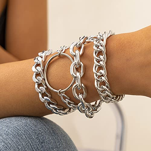 Chargances Punk Layered Circle Link Bracelet Set for Women Fashion Chunky Chain Bangle Bracelet for Women Girls Gift (Silver)