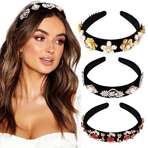 YMHPRIDE hoofdband voor vrouwen, 3 packs Glitter Crystal Fashion haarbanden Haaraccessoires voor meisjes, vrouwen