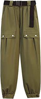 سروال Yansyuiongnck للنساء، سروال كارجو بناطيل للشارع، ملابس نسائية عالية الخصر وسراويل عريضة الساق (اللون: أخضر، المقاس: ...