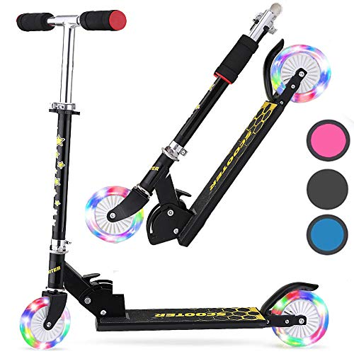 DaddyChild Folding Kick Scooter for Kids 2 Wheel Scooter for Girls Boys, 3 Adjustable Height, PU Wheels Scooters for Children 3 Years and up, 110lb Weight Capacity