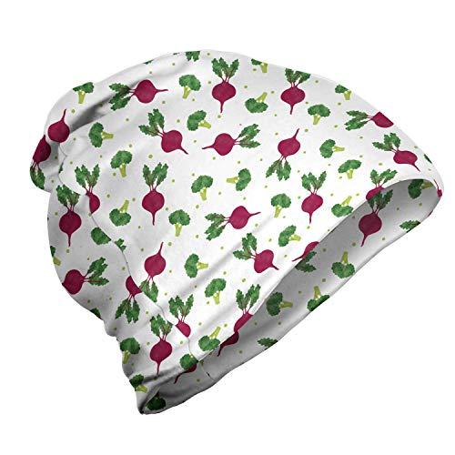 ABAKUHAUS Groente Unisex Muts, Broccoli Beets Polka Dots, voor Buiten Wandelen, Fern Green Framboos