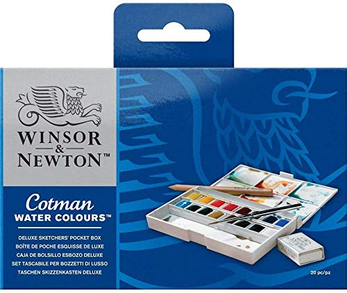 Winsor & Newton Cotman Watercolor Paint, Half Pans, Set of 18, 16 Count