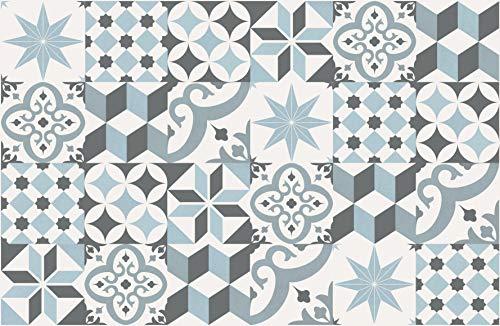 HAPPERS Alfombra Vinílica Levante Azul 78x120 Antideslizante para Salón,Cocina,Baño o Pasillo