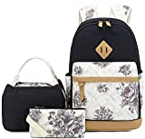 Pawsky Canvas School backpack for Teen Girls Women Kids School Bags College Bookbag , 15 Inch Laptop Bag with Lunch Bag and Pencil Case