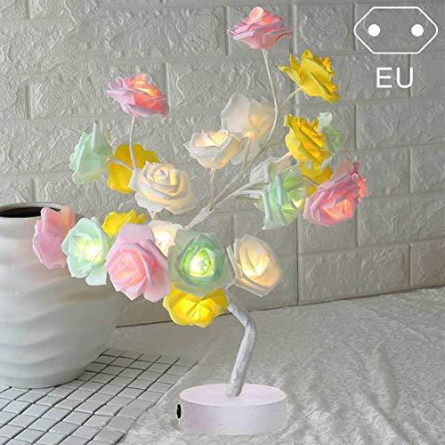 Lámpara LED para bonsái, decoración, árbol de luz, rosas, lámpara ajustable, para Navidad, Pascua, día de la madre, boda, aniversario, lámpara de noche para salón, dormitorio, restaurante, regalo