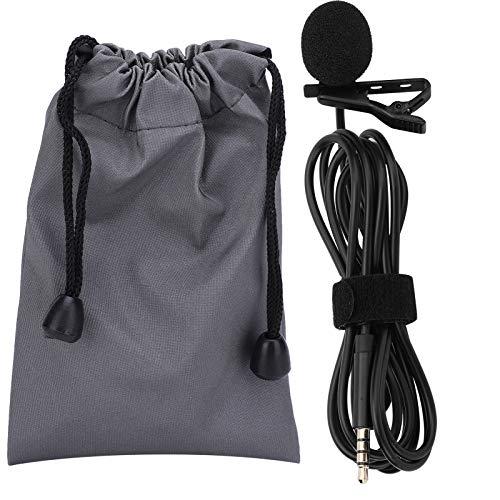 YUUGAA Micrófono de Solapa, 1.5 m Micrófono de Solapa portátil para entrevistas Teléfono en Vivo Grabación Profesional Clip de Cuello