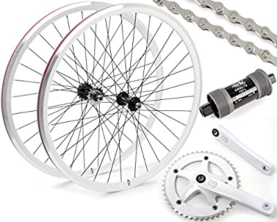 Eighth Inch Fixed Gear/Single Speed Conversion Kit 700c Wheelset Cranks // White