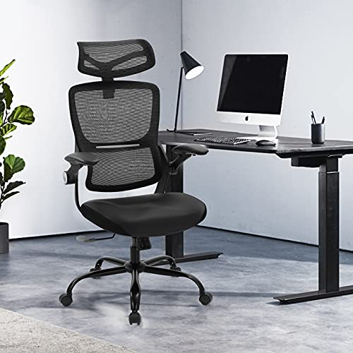 SAMOFU Ergonomic Office Chair, High Back Desk Chair with Adjustable Backrest Headrest &Flip-up Armrests, Computer Mesh Chair with Lumbar Support for Home Office Conference Room