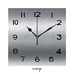 YOLIYANA 8 Inch Square Face Silent Wall Clock Silver Metal Texture Chrome Background Unique Contemporary Home and Office Decor