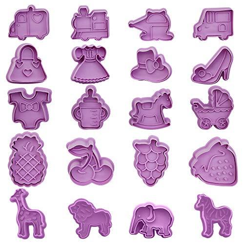 IWILCS Ausstechformen Plätzchen, 20 Stück Ausstechformen Ausstecher Set, Plätzchenformen für Kinder, keksausstecher Set mit Auswerfer für Fondant Keks Backen Plätzchen Küche Zubehör