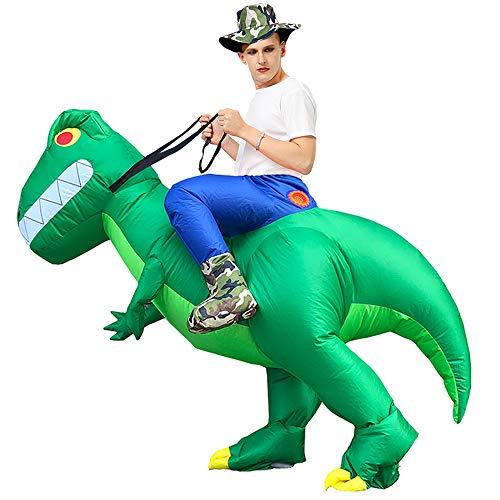 CHOBES Disfraz inflable de dinosaurio para mujeres adultas, hombres, Halloween, cosplay, disfraz, color verde