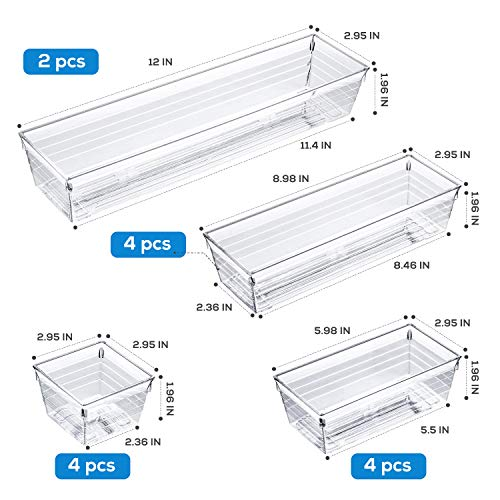 14 PCS Clear Plastic Drawer Organizer Tray for Makeup, Kitchen Utensils, Jewelries and Gadgets