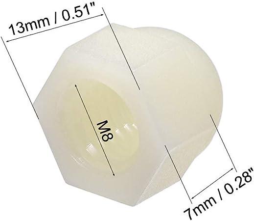 10 St/ück Sourcing Map Hutmutter Sechskant-Hutmuttern f/ür Schrauben Bolzen Nylon