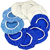 9 to 10 Inches Buffer Bonnets 9Pcs Waxers Bonnet Set Polishing Pads Bonnet Car Buffer Bonnet Car Wax Cover Kit - 4 Microfiber, 3 Coral Fleece, 2 Woolen, for Orbital Buffer Polisher
