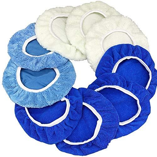9 to 10 Inches Buffer Bonnets 9Pcs Waxers Bonnet Set Polishing Pads Bonnet Car Buffer Bonnet Car Wax Cover Kit - 4 Microfiber, 3 Coral Fleece, 2 Woolen, for Orbital Buffer Polisher