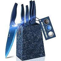 Wanbasion Marbling Blue Kitchen Knife Block Set