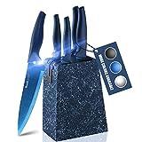 wanbasion Azul Set Cuchillos Cocina Acero Inoxidable, Bloque de Cuchillos Cocina Profesion...
