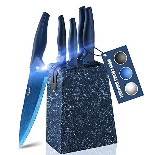 wanbasion Azul Set Cuchillos Cocina Acero Inoxidable, Bloque de Cuchillos Cocina Profesional,...