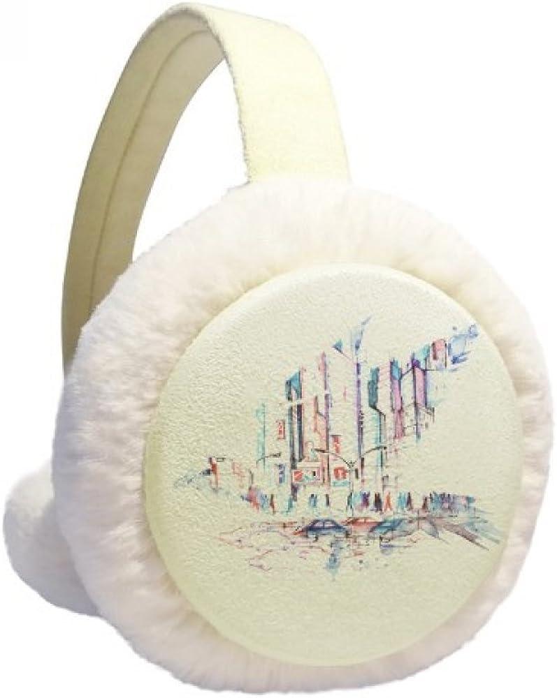 Crowd Cars Skyscraper Watercolor Winter Ear Warmer Cable Knit Furry Fleece Earmuff Outdoor