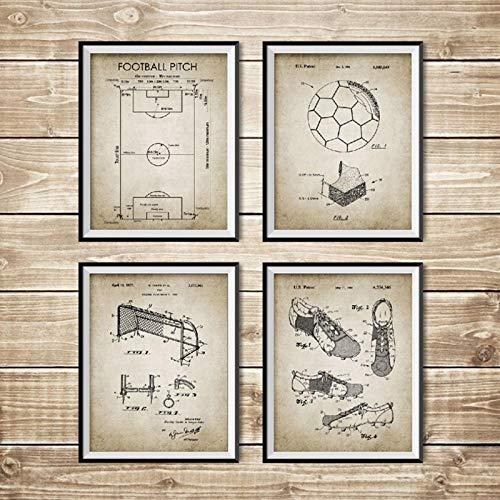 TeriliziVintage Soccer Patent Blueprint Poster Und Drucke Fußballplatz, Fußball, Schuh, Tor, Net Design Wandkunst Gemälde Home Decor-30X40Cmx4Pcs Ungerahmt