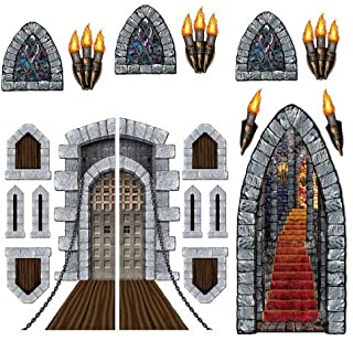 Medieval Party Decorations Kit 1.0 with Castle Decorations including Door, Windows, Stairway, and Torch Props