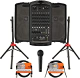 Fender Passport Venue S2 Portable PA System Bundle with Compact Speaker Stands, Microphone, XLR Cable, and Instrument Cable