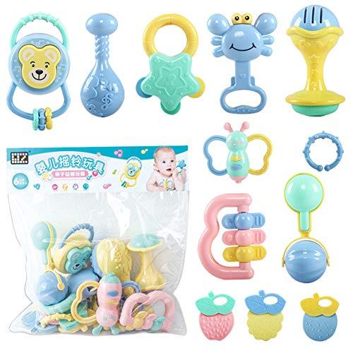12pcs Rassel Beißring Set Baby Spielzeug Shaker Greifen Rassel Baby Kleinkind Spielzeug Frühe Lernspielzeug für 3 6 9 12 Monate Jungen Mädchen Baby Geschenke