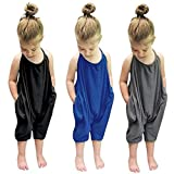 GUAGLL Childrens Jumpsuit Lightweight Solid Color Sleeve O-Neck Spring Casual Cute Newborn Kids Baby Jumpsuit Black