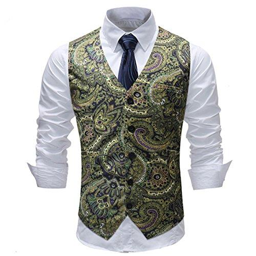 Allthemen Weste Herren Anzug Paisley Jacquard Westen Slim Fit Anzugweste Gilet für Hochzeit Party Type6 M