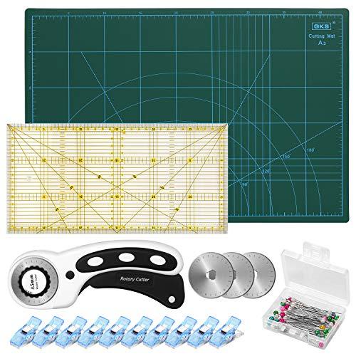 Conjunto de Corte Rotativo, Cuchilla Rotativa de 45mm con Material Auxiliar: Tablero para Corte A3, Mosaico con Reglas, 10 Pinzas para Tela, 50 Agujas y 3 Hojas de Repuesto,Color Negro