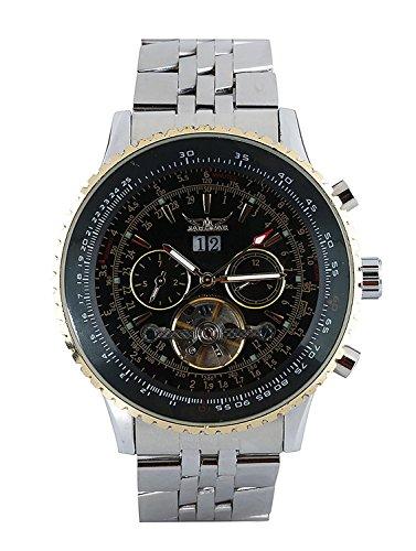 Jaragar - Reloj de pulsera para hombre mecánico automático, acero inoxidable plateado, regalo para Hallowen, Navidad