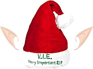 Regent Christmas Elf Hat with Ears - Deluxe Very Important Elf Stocking Cap Ears Set (Christmas Elf Costume Hats Adults)