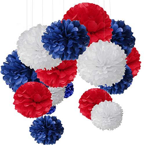 MAKFORT 15er Set Pompoms Deko Bunt Seidenpapier Pompons für Hochzeit, Geburtstag, Party Blau Rot Weiß (3pcs*30.5cm/6pcs*25cm/6pcs*15.5cm)
