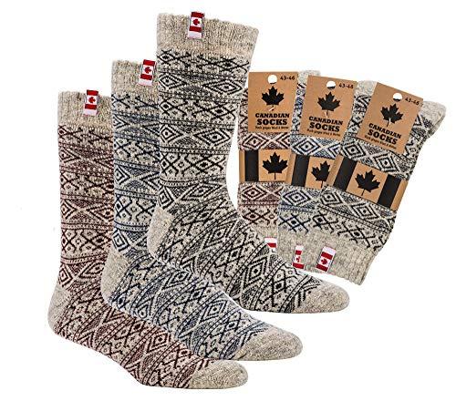 TippTexx 24 1 Paar Unisex Canadian Socks, THERMO-Wollsocken mit zusätzlicher Garantie, 80prozent Schafwolle (Blau, 43/46)