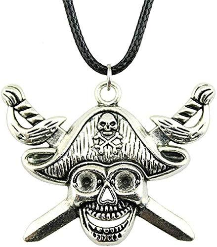 Yiffshunl Collar Espada de Bronce Antiguo Collar de Calavera Pirata Color Plata Antiguo 45X34Mm Collar Colgante Collar de Cuero Vintage Collar de Regalo