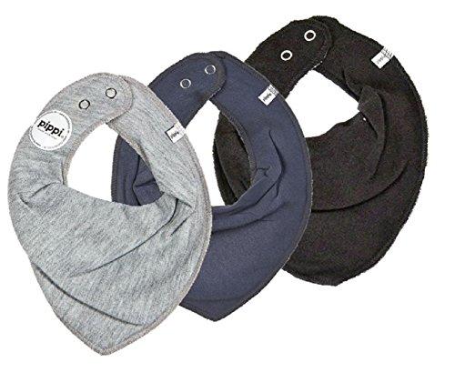 pippi Halstuch 3er Set Baby Halstücher Dreieckstücher (grau-Stone-schwarz)