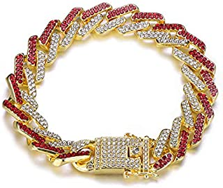 Men Hip Hop Colorful Mixed Color 13Mm Prong Miami Cuban Link Chain Bracelet Rhinestone Zircon Iced Out Jewelry Gift