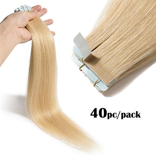 TESS Tape Extensions Echthaar Klebeband Haarverlängerung Remy Human Hair Extensions günstig 40 PCS x 4 cm 100g-40cm(#613 Hell-Lichtblond)