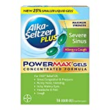 Alka-Seltzer PowerMax Liquid Gels with Acetaminophen, Severe Sinus, Allergy & Cough, 16 Count, Severe Allergy Relief Medicine