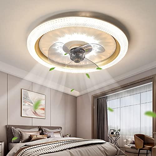 LED Ventilador Techo Con Luz Y Mando, 3 Velocidades Dormitorio Regulable Lamparas Ventilador De Techo Con Temporizador Ultradelgado Silencioso Moderno Sala Ventilador Techo Con Luz,Oro