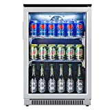 Advanics Frost Free Beverage Refrigerator 110 Can Mini Fridge Cooler with LED Lighting for Beer Cola or Soda, Stainless-Steel Trimed & Tempered Glass Door, SC-88F