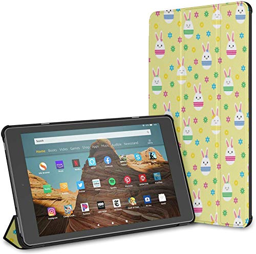 Case Cover Compatible with 10.1' Amazon Fire HD 10 Tablet (9th / 7th Generation, 2019/2017 Release),Easter Eggs Kawaii Style Yellow