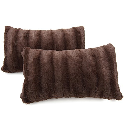 Cheer Collection Faux Fur Throw Pillows - Set of 2 Lumbar Couch Pillows - 12' x 20' - Chocolate
