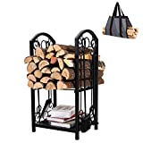PHI VILLA 4 Feet Heavy Duty Indoor/Outdoor Firewood Racks Steel Wood Storage Log Rack Holder with Cover, Black