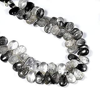 "Jewel Beads Natural Beautiful jewellery Natural Black Rutile Beads, Briolette Smooth Beads, Handmade Beaded Jewelry Making 10-11 mm / 7""inchCode:- JBB-41096"