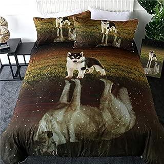 Betterhomeplus Duvet Cover 3D Printed Bed Set 3pcs King Queen Microfiber Zipper bedsheet Pillowcases Siberian Husky Puppy Reflection Dog Soft Comfortable (US Twin)