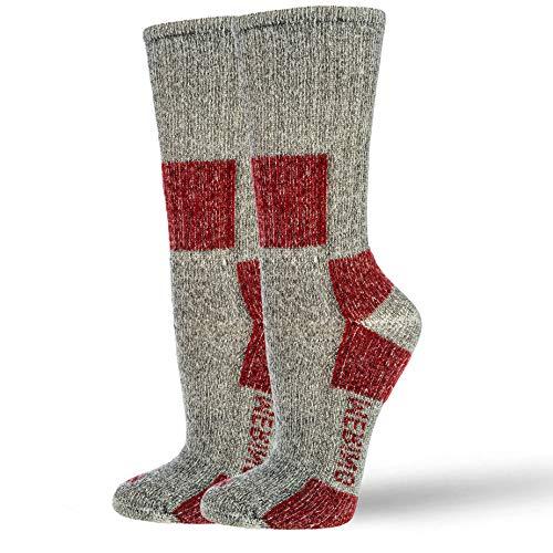 NewwerX Premium Wandersocken mit 85 % Merinowolle | Trekking Socken Damen und Herren | Trekkingsocken Atmungsaktiv und Komfortabel (Rot, 35-38)