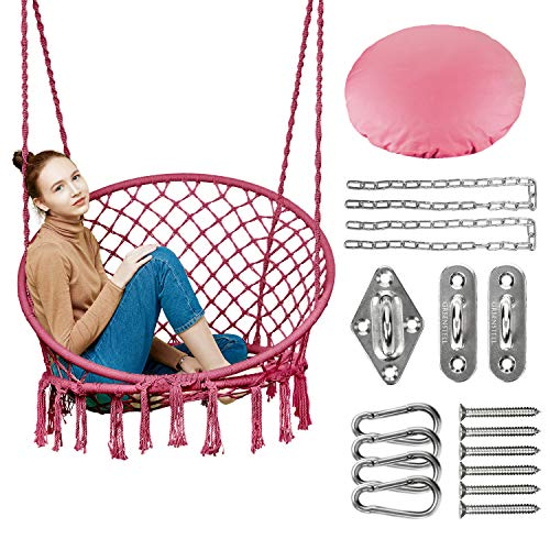 Greenstell Hammock Chair Macrame Swing with Hanging Kits, Hanging Cotton Rope Swing Chair,...