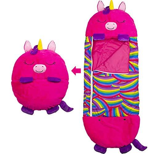 Happy Kids Nappers Play Pillow, Fovely Fun Sleeping Sacos de dormir para niños, almohada 2 en 1 y saco de dormir, plegable suave 140 * 50 con niños, niñas, para acampar, viajar al aire libre, unicorni